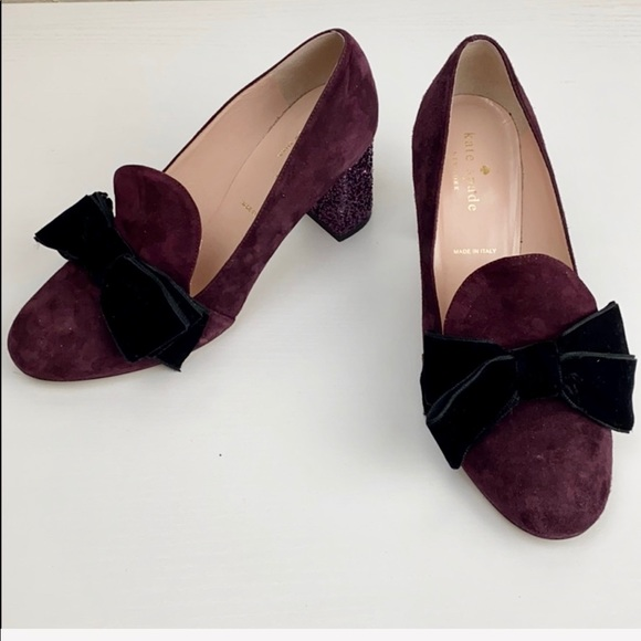 Kate Spade Purple Suede Loafer Bow Block Pumps